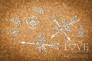 Chipboard -  Arrows with flowers - Indiana