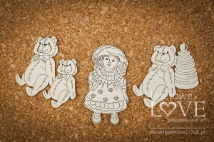 Chipboard - Teddy bears and doll - Vintage Baby