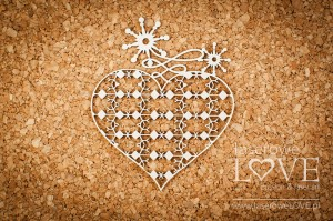 Chipboard - Heart with ornaments - Vintage Christmas