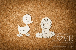 .Chipboard - Boy with duck - Emma & Billy