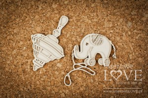 .Chipboard - Tin top and elephant - Vintage Baby
