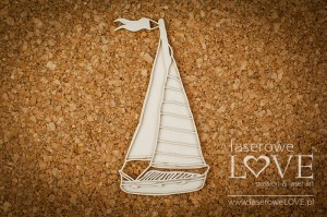 Chipboard - Sailboat - Vintage Tropical Island