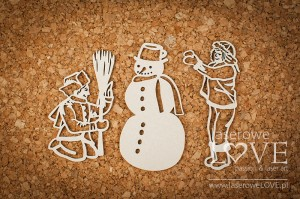 Chipboards -  Boys with snowman - Shabby Winter