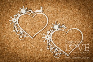 Chipboard - Heart frame among stars - Vintage Christmas