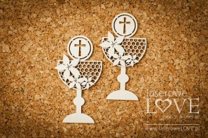 .Chipboard - Two goblets with flowers  - Flower