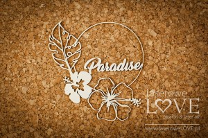 Chipboard - Paradise text inside a frame - Vintage Tropical Island