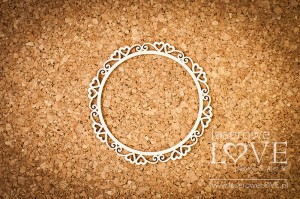 Chipboard - Round frame Paroles with hearts