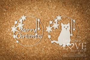 Chipboard - Christmas frames with a cat - Vintage Christmas