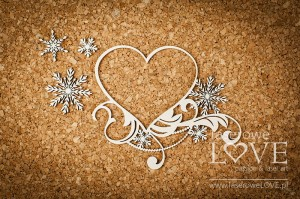 Chipboard - Heart frame with stars - Shabby Winter