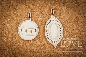 Chipboard - Two baubles - Vintage Christmas