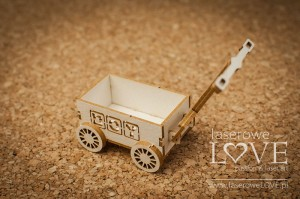 .Chipboard - Toy wagon 3D Boy - Vintage Baby