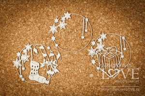 Chipboard - Three Christmas Frames - Vintage Christmas