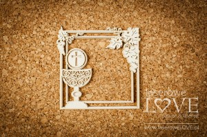 Chipboard - Square frame with host and grapes - El Santo Rosario