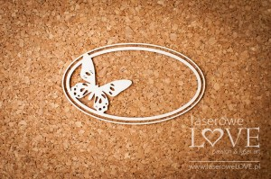 Chipboard - Oval frame with butterfly - Soufre