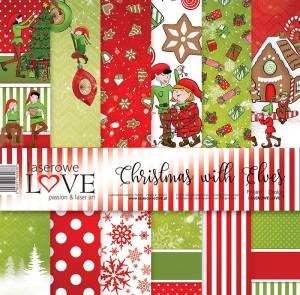 Set of papers - Christmas with elves  - 30,5 cm x 30,5 cm - Laserowe LOVE