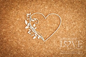 Chipboard- Heart frame with leaves - Fleur