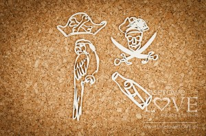 Chipboard -  Pirate parrot - Ocean Adventure