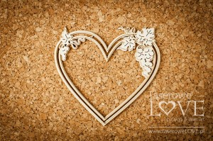 Chipboard - Heart with grapes- El Santo Rosario