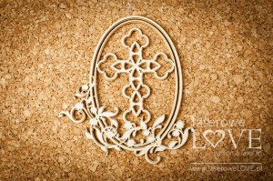 Chipboard - Oval frame with a cross - Baby lily
