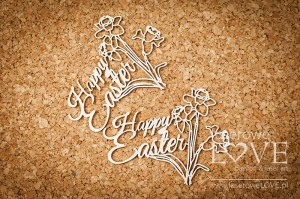 .Chipboard -  Inscription Happy Easter , daffodils  - Easter Bunny