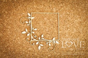 Chipboard - Square frame with leaves - Fleur