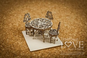 Chipboard - Table with chairs, 3D - Vintage Trip