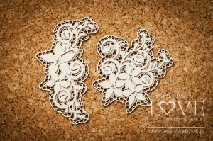 .Chipboard - Two ornaments with flowers - Flower