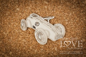 Chipboard - Race car - Vintage Baby