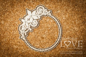 Chipboard -  Round frame with ornament- Flower