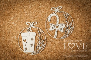 .Chipboard - Mini baubles with gift - Vintage Christmas