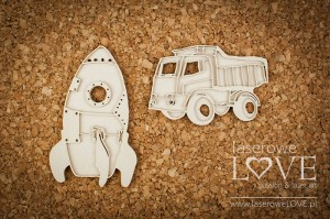 .Chipboard - Rocket and truck - Vintage Baby