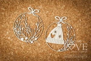 .Chipboard - Mini baubles with cap - Vintage Christmas