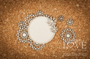 Chipboard - Round frame with snowflakes - Arctic Sweeties