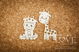 .Chipboard - Boy with giraffe - Emma & Billy