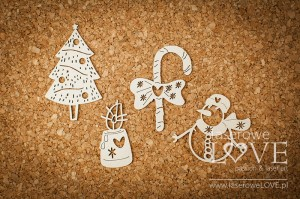 Chipboard - Christmas set with snowman - Vintage Christmas