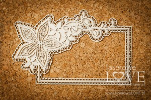 Chipboard -  Rectangular frame with ornaments - Flower