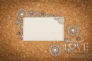 Chipboard - Rectangular frame with snowflakes - Arctic Sweeties