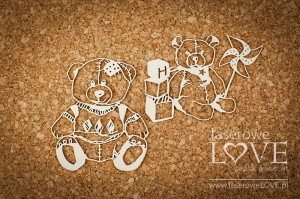 .Chipboard - Teddy bears - Vintage Baby