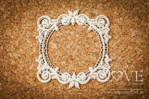 Chipboard -  Round frame - Flower