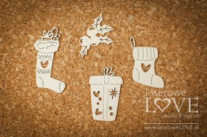 Chipboard - Christmas set with sock - Vintage Christmas
