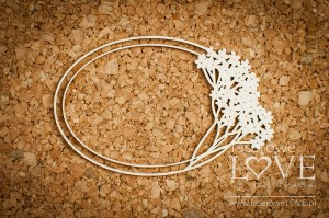 .Chipboard - Oval frame with a yarrow - Wedding Day