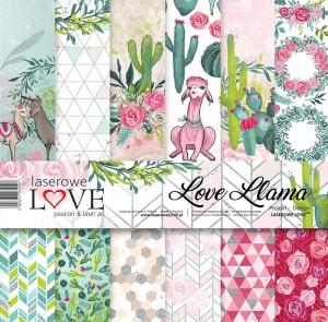 Zestaw papierów - Love Llama  - 30,5 cm x 30,5 cm - Laserowe LOVE
