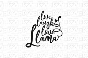 Rubber stamp - Live Laugh Love - Love Llama