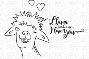 Stempel gumowy - Just say I love you - Love Llama