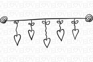 Rubber stamp - Hanging hearts - Love Llama