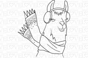 Rubber stamp - Lama in earmuffs - Love Llama