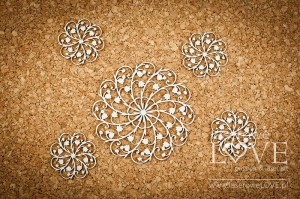 Chipboard - Doily with lilies of the valley - First Love