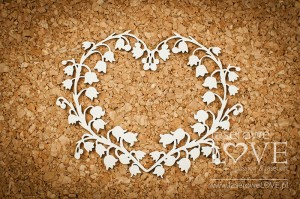 Chipboard - Heart with lilies of the valley  - First Love