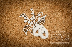 .Chipboard - Wedding rings with lilies of the valley - First Love