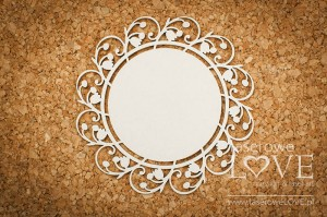 .Chipboard - Round frame with lilies of the valley - First Love